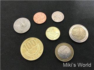 コスタリカのコロン、アメリカドルとユーロの小銭