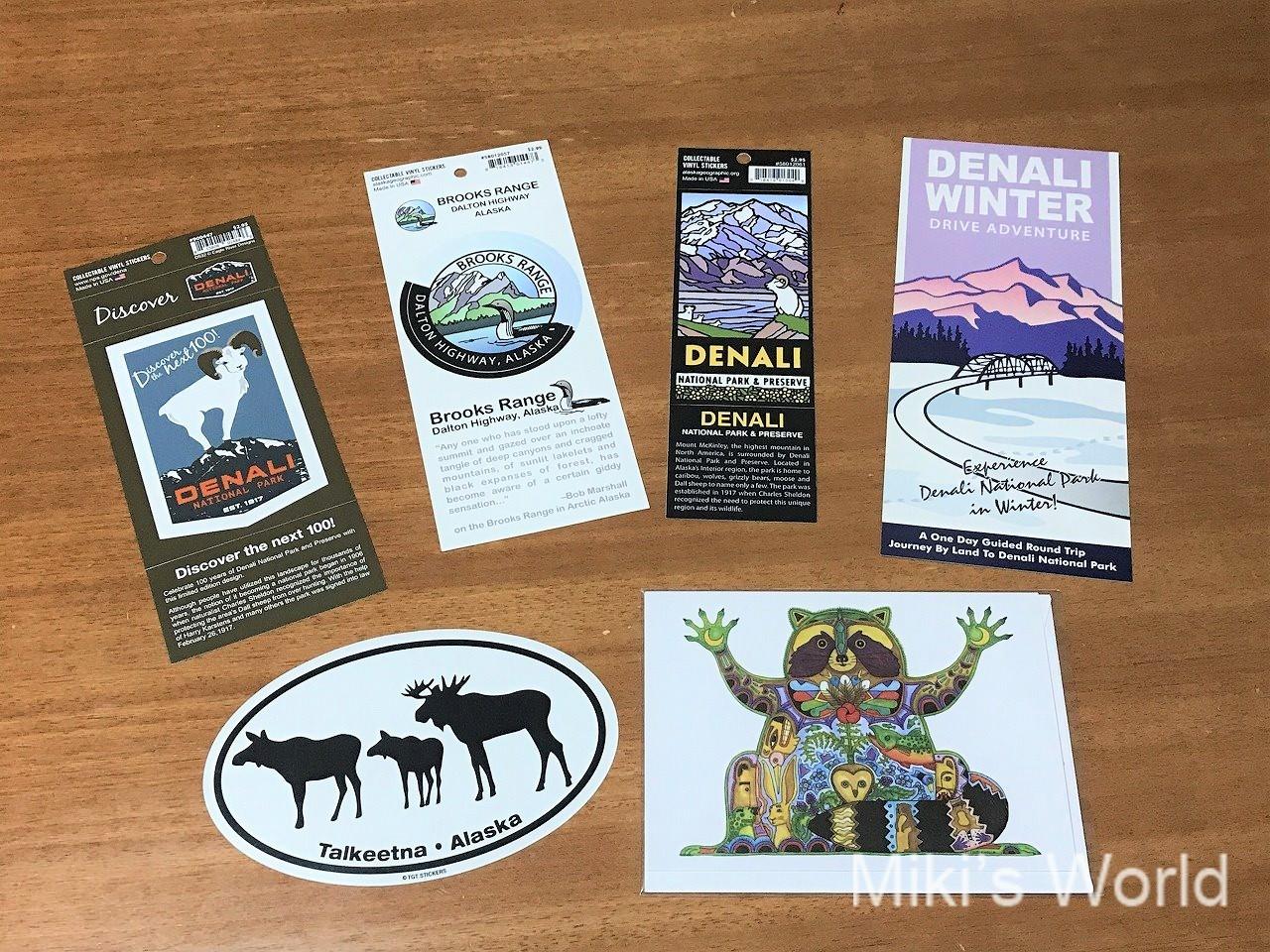 アラスカのお土産 ステッカーとポストカード&フリーペーパー