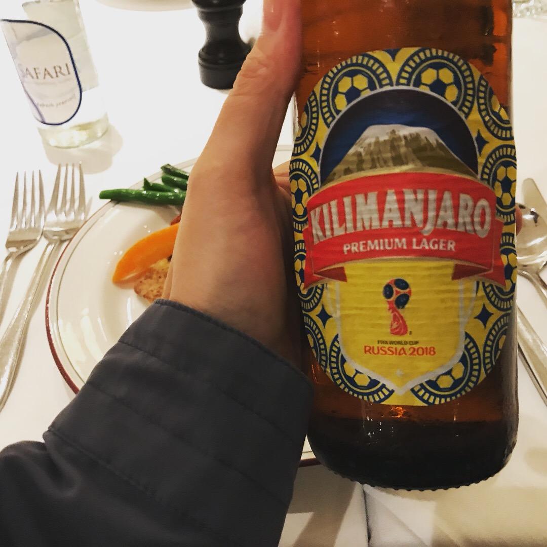 2018年ロシアワールドカップ  サッカーボール柄のマークがキリマンジャロビールに!